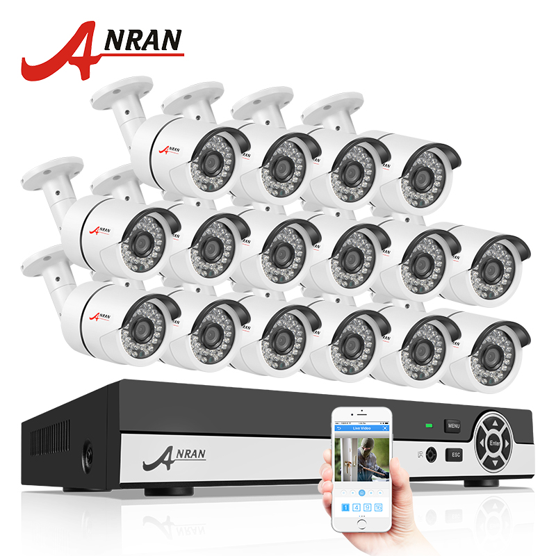 ANRAN 16CH HDMI 1080N DVR CCTV AHD Camera Set Home Security System IR Outdoor 720P 1800TVL Video Camera Surveillance kit ahd 24ch 1080n hdmi dvr set security camera system 24pcs ahd 720p 1800tvl 3 ir outdoor night vision home surveillance camera