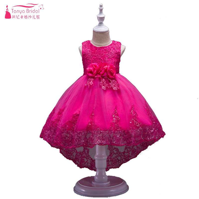 Floral Elegant   Flower     Girls     Dress   With   Flowers   Lace Sequined   Girls   New Years Party   Dress   robe enfant mariage ZF005