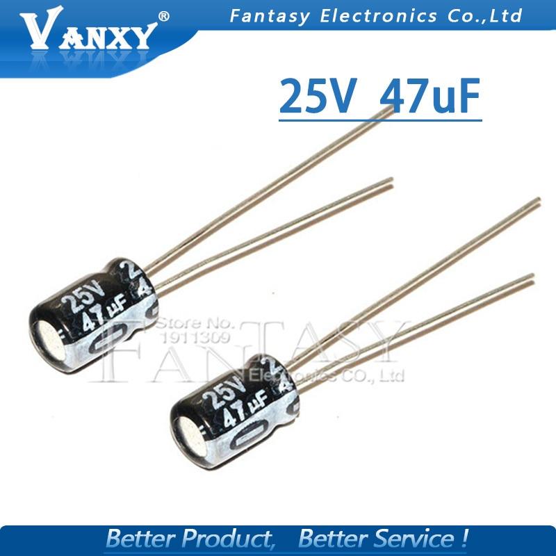 50PCS Higt Quality 25V47UF 5*7mm 47UF 25V 5*7 Electrolytic Capacitor