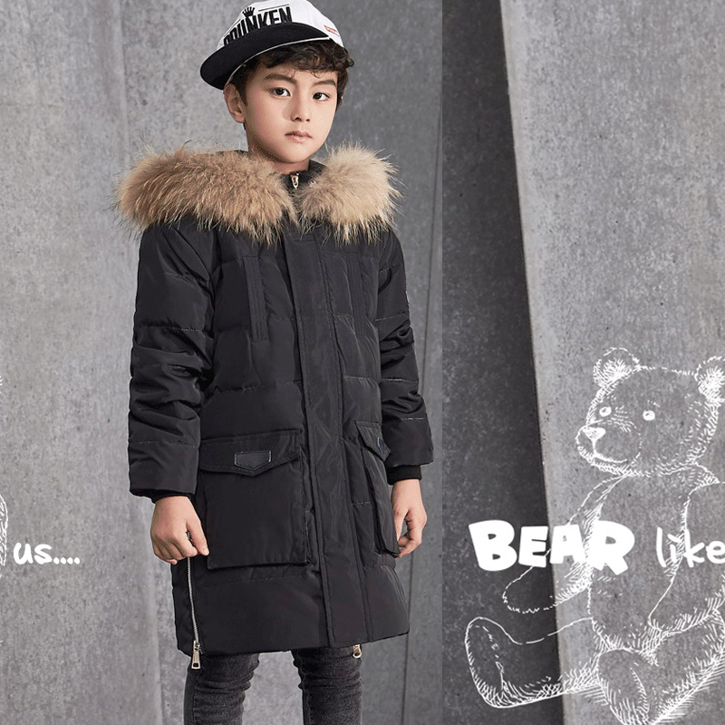 Boys Winter Jackets and Coats Made of Duck Down for Boys Thicken Warmly Fur Hooded Children Winter Jackets for 8 - 15 years boys winter jackets 80