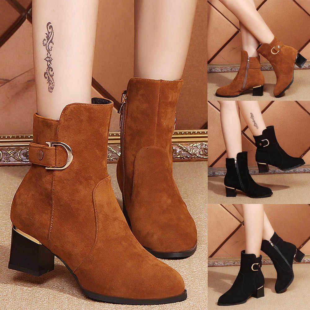 YOUYEDIAN Kadın Ayak Bileği Kısa Patik Orta Tüp Süet Martin Çizmeler Ayakkabı Fermuar Çizme Orta Tüp Süet Martin # a35