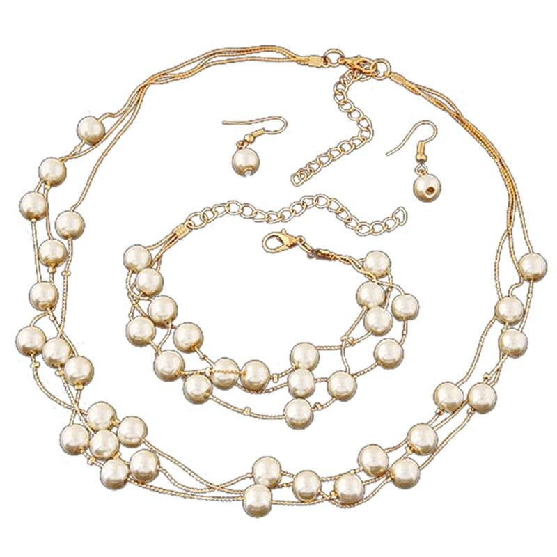 2018 Lady Wedding Artificia Pearl Rhinestone Necklace Earrings Bracelets Jewelry Set Gir Women Gift Wedding Party Event Jewel