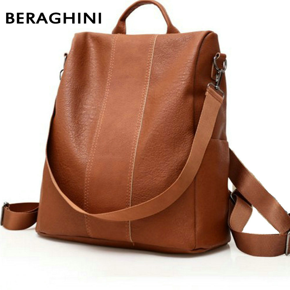 BERAGHINI Retro Women Leather Backpack College Preppy School Bag for Student Laptop Girls Ladies Daily Back Pack Shop Trip(China)