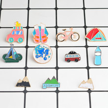 Travel Pins Bus Tent Bicycle Walk Travel the world Mountain Water bottle Brooch for Girl Boy Kids Lapel Pin Badge Travel jewelry(China)
