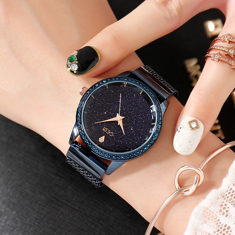 2019 New GEDI Fashion Starry sky Women Watches Top Luxury Brand Ladies Quartz Watch 2 Pieces Watches Stainless Steel Waterproof in Women 39 s Watches from Watches