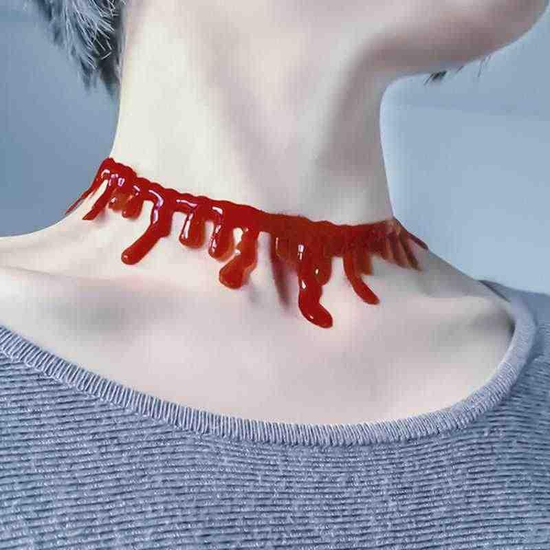 1a05ac5e6ae94 KUNIU 2017 Hot Sale Creepy Halloween Dripping Blood Choker Blood drip  Necklace Accessory