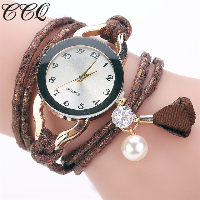 Women Dress Watch Fashion Vintage Gold Crystal Bead Bracelet Watch