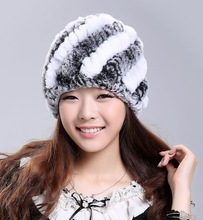 2014 Autumn Winter Women's Genuine Real Nature Knitted Rex Rabbit Fur Hats Handmade Lady Warm Caps Female Beanies VF0202