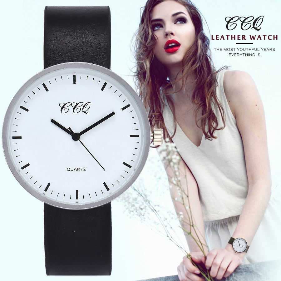 CCQ Women Men Watch Top Brand Luxury Leather Silver Case Simple Watches Clock Female Sport Clock Business Watches Hot Selling ccq watch women 2017 top brand luxury famous leather starp wristwatch female clock quartz watch fashion simple sport watch new