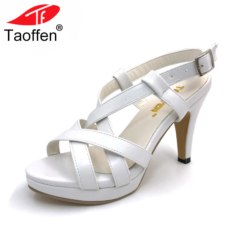 TAOFFEN Size 32-43 New High Heel Sandals Women Sandals Shoes Summer Girl Ladies Female Platform High Heels Sandals Women Shoes sexemara extreme high heel sandals fish mouth women sandals 2017 new large size 33 43 summer fashion sexy buckle ladies sandals