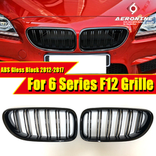 цены на 1 Pair ABS Gloss Black Front Kidney Grille Grill For M6 F12 640i 650iGC Double Slats Front Kidney Grille Auto Car styling 12-17  в интернет-магазинах