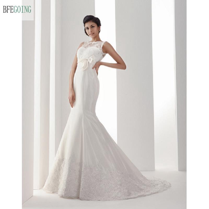 Satin Mermaid Wedding Gown: White Satin Lace Floor Length Mermaid/Trumpet Wedding