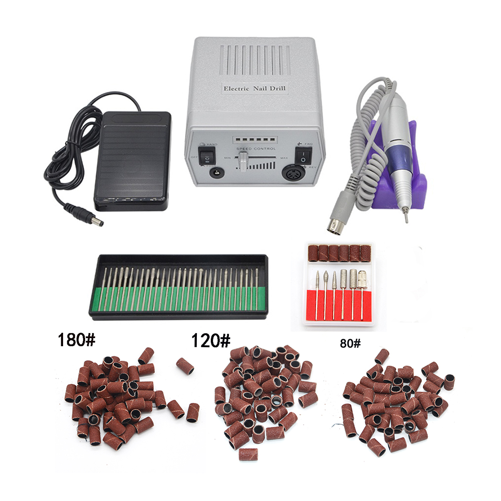 Professional and convenient custom product Silver Professional Nail Art Salon Manicure Pedicure Kit Electric Nail Drill Machine