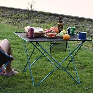 Image 1 - طاولة قابلة للطي محمولة نزهة كائدة طعام للهواء الطلق خفيفة سوداء عالية الجودة طاولة مكتب 7075 طاولة تخييم سبائك الألومنيوم