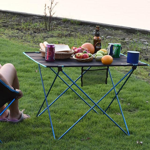 طاولة قابلة للطي محمولة نزهة كائدة طعام للهواء الطلق خفيفة سوداء عالية الجودة طاولة مكتب 7075 طاولة تخييم سبائك الألومنيوم