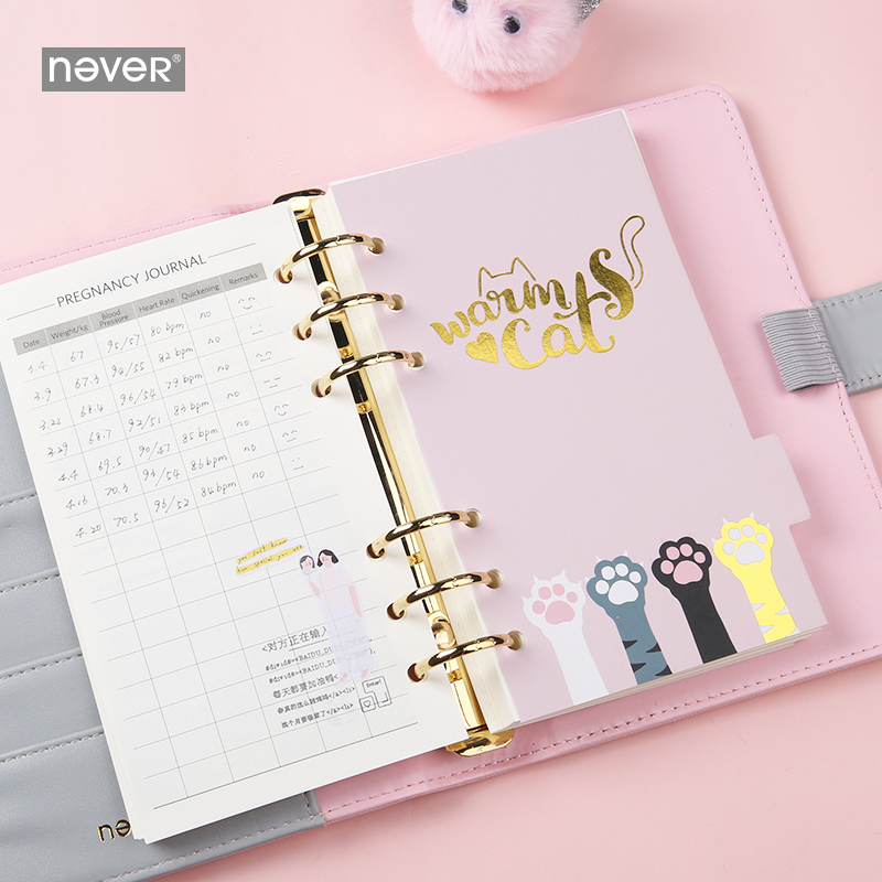 Image 3 - Never Cute Kitty Cat Spiral Notebook Korean Diary A6 Planner Organizer Grid Dotted Filler Paper Student Girls Gift Stationery-in Notebooks from Office & School Supplies
