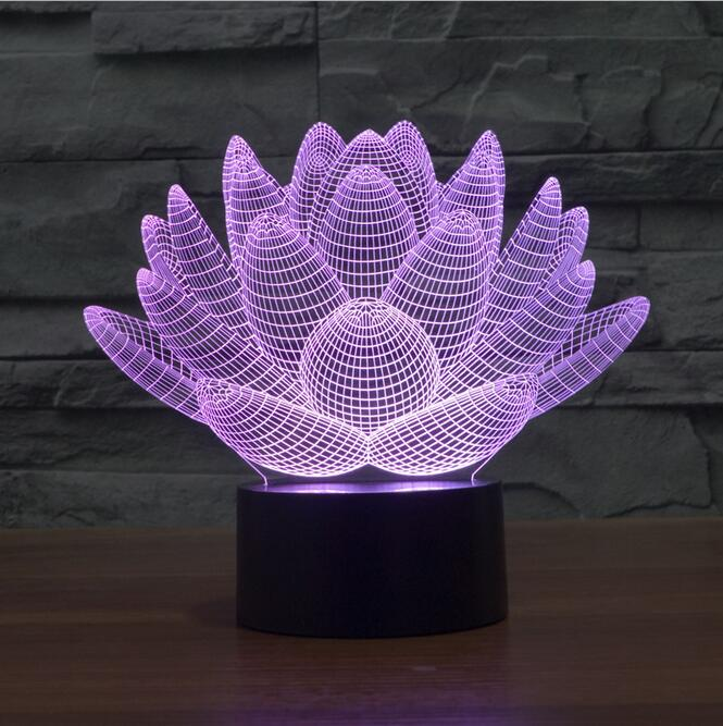 colorful Touch Lotus 3D lights night light strange new stereoscopic 3D visual illusion lamp LED lamp Holiday light Mood light
