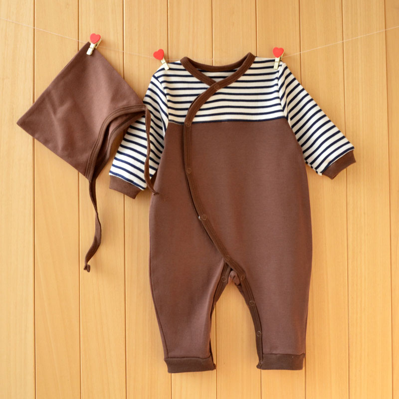 YiErYing Baby Jumpsuit Suit Summer Fashion 2Pc Long Sleeve Cotton Stripe Leisure Hat+Romper Newborn Clothes Set Baby Suit Onesie ...