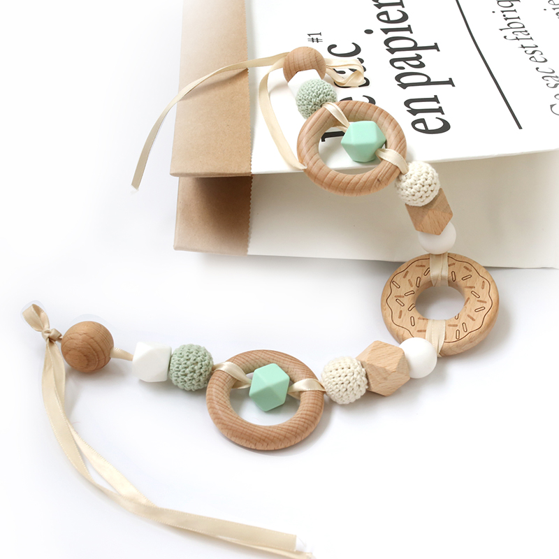 1PC Baby Rattles Crib Mobile Toys Beech Wooden Donut Printing  Teether Bed Bell Indoor Hanging Chain Decor Stroller Accessories