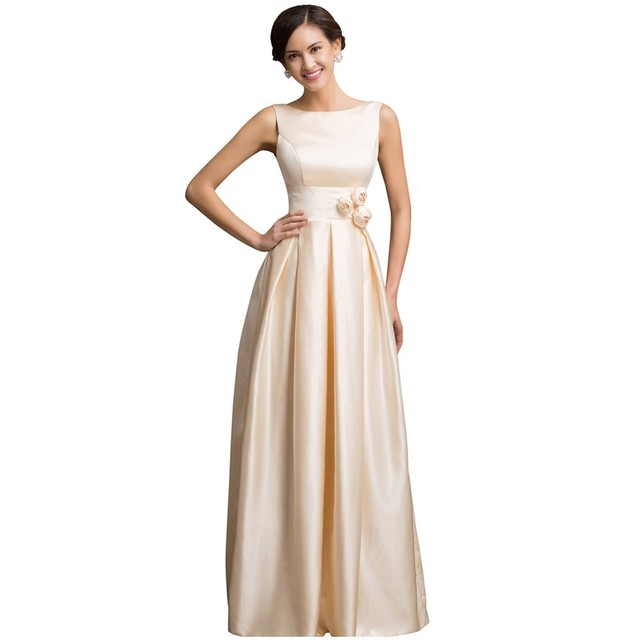 Very Luxury Prom Dresses Champagne Satin Elegant Formal Gowns Open ...