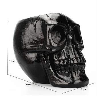 Black Skull Head Figurine Skeleton Ornament Stationery Holder Makeup Storage Container Jewellery Box Office Home Decoration 1