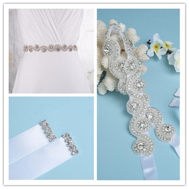 Fashion Shiny White Bridal Belts with Crystals Beads Rhinestones Wedding Belts 2017