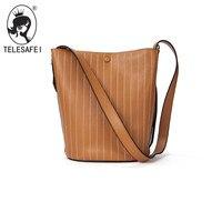 2017 New Winter Leather Handbag Embroidered Bucket Bag Simple All Match Stripe Lash Ramp Shoulder Bag