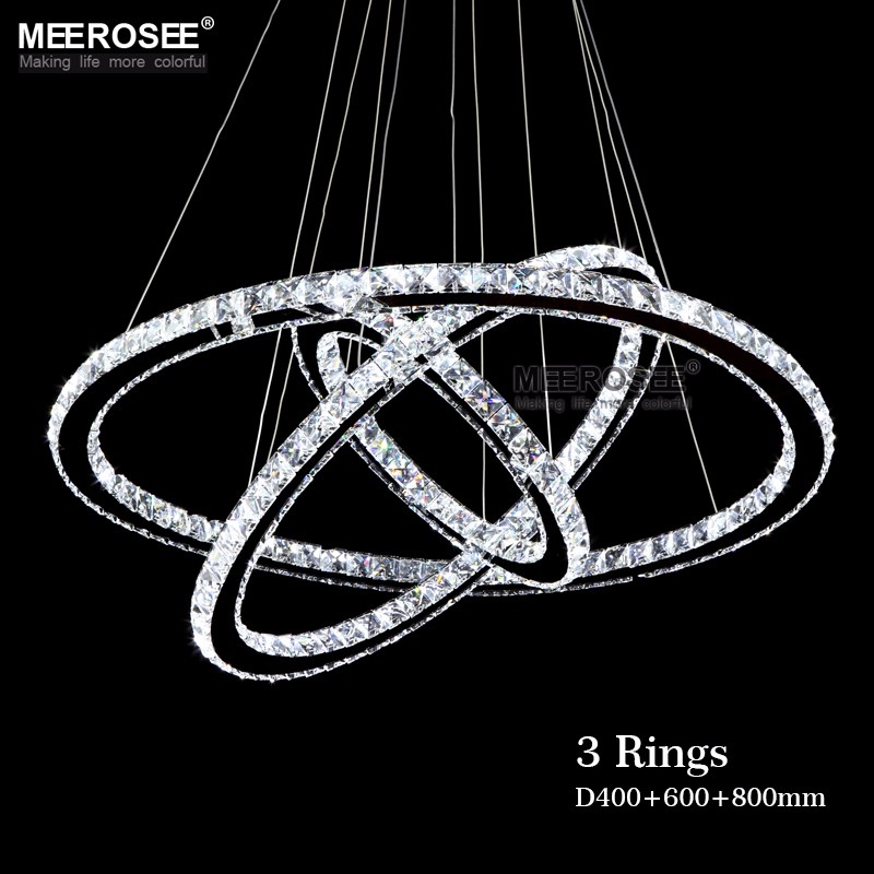 Modern Chrome Chandelier Cristales Anillo de diamante Lámpara LED Acero inoxidable Lámparas colgantes Cristal ajustable LED Lustre