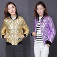 2018 Silver Bright Jacket Coat Women Winter Warm Down Cotton Padded Short Parkas Bread Style new Autumn Fashion Bomber Outwear