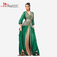 Moroccan Caftan Kaftans Evening Dress Long Sleeve Green Arabic Abaya Islamic Clothing for Women Kheleeji Jalabiy Arabian No belt