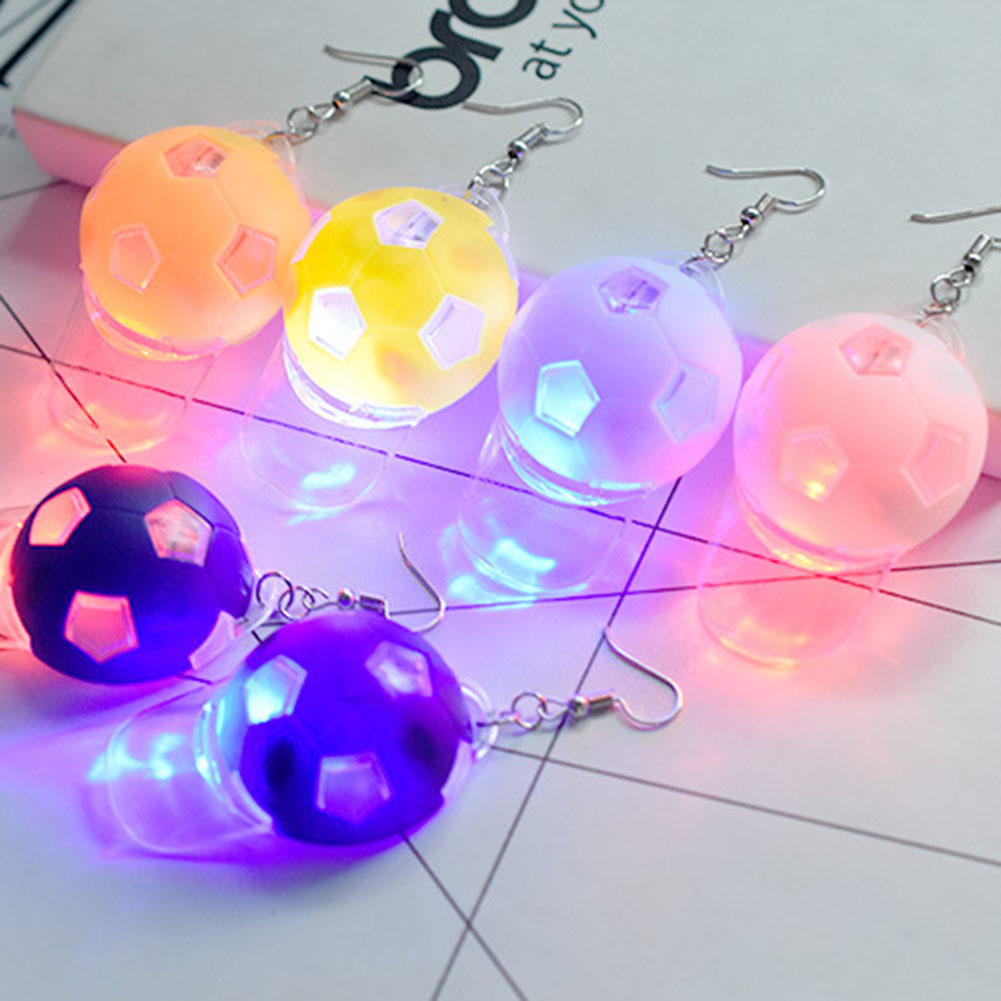 Capable New Design Personality Led Flash Football Hat Earring Nightclub Disco Dancing Colorful Light Bulbs Earrings Mix Design