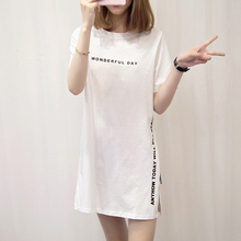 Women Casual Large Size Summer T-shirt Long T-Shirt Letter Split tops Black White Korean Shirts 2019 Fashion Tshirt