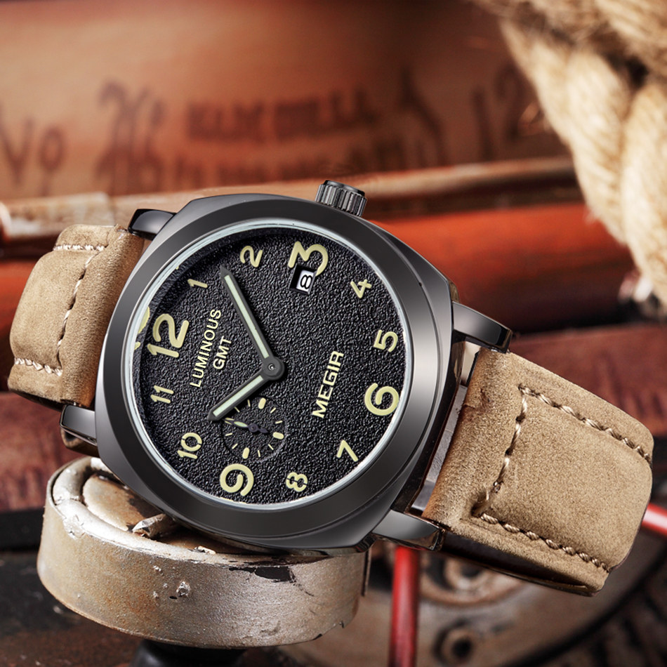 Mens Watches Megir Quartz Watch Sport Chronograph Military Army Waterproof Leather Strap Male Clock Watches relogio masculino mens watch army sport analog day date quartz calendar pilot stylish male chronograph aviator relogio masculino