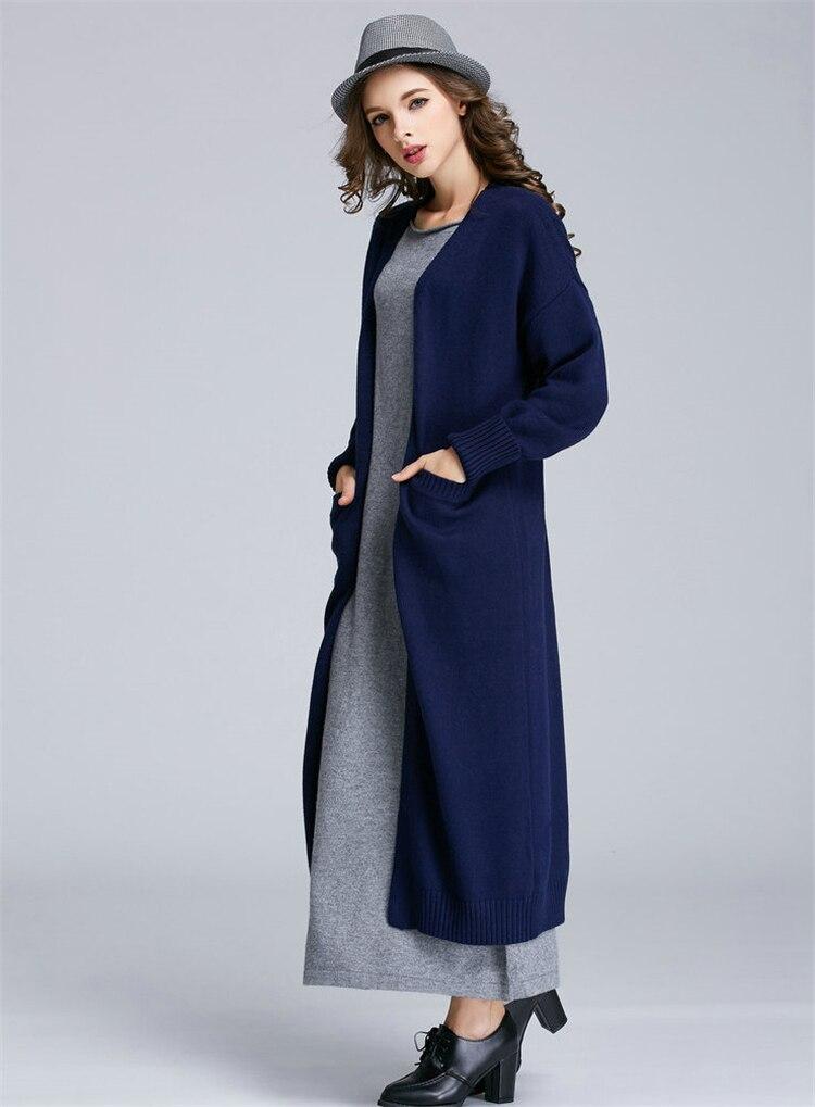 Spéciaux coton laine mélange tricot femmes mode super long cardigan chandail manteau S-XXL 5 couleurs - 6