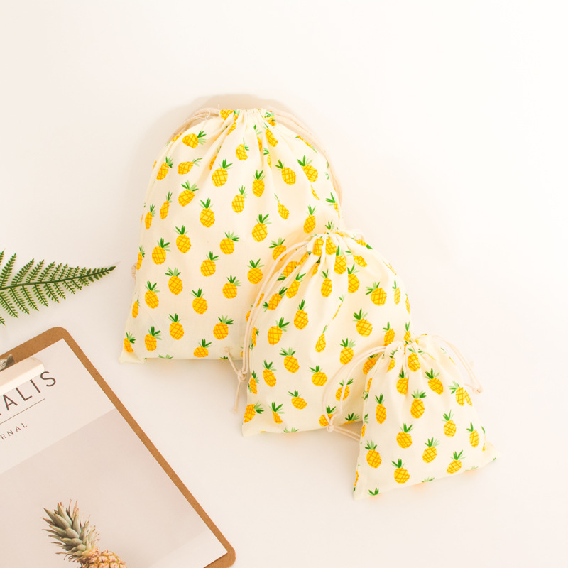 YILE Cotton Fabric Drawstring Gift Bag Cosmetic Pouch Multi-purpose Bag Yellow Pineapple N402