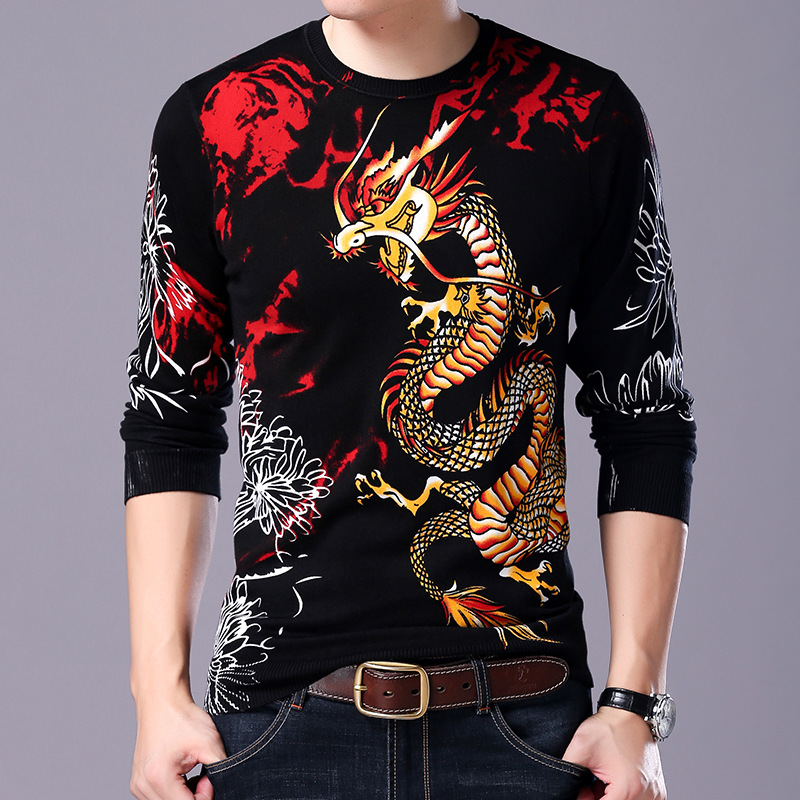 Chinese Style Creative 3D Dragon Pattern Printing Pullover Knit Sweater Autumn 2018 Quality Cotton Soft Elastic Sweater MenM-3XL