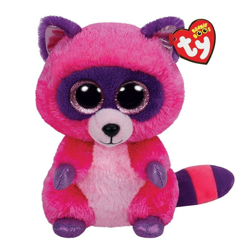 Ty Beanie Boos Stuffed & Plush Animals Rose Red Raccoon Toy Doll Name Roxie Toy Doll With Tag 6 15cm