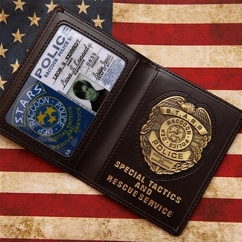 Cosplay Stars RACCOON Police Dep Leon/Chris/Jill/Wesker Metal Badge Leather Case Holder ID Cards Driving Wallets Holder Case 1:1