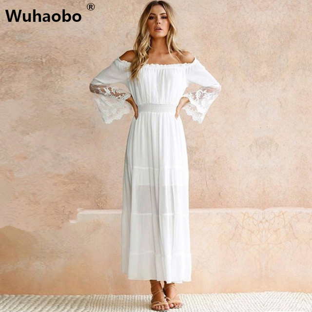 4ccf8ffe6fa Wuhaobo Summer Sundress Long Women White Beach Dress Strapless Long Sleeve  Loose Sexy Off Shoulder Lace Boho Cotton Maxi Dress