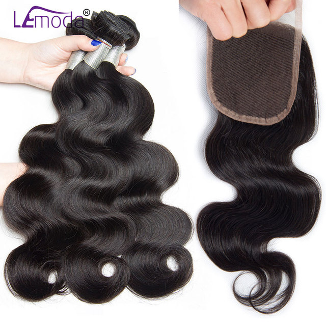 Lemoda Body Wave Bundles With Closure 100 Percents Remy Human Hair Bundles Brazilian Hair Weave Bundles 4/3 Bundles With Closure by Lemoda