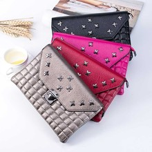 2016 New Arrival Women Rivets Shoulder Messenger Bag Coin Purse Handbag Fashion bag Clutch handbag gift wholesale