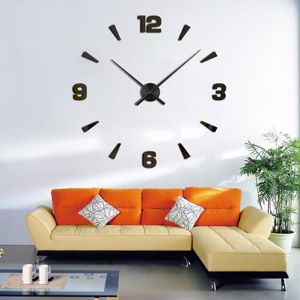 3cc9fac0e0f 3D Relógios de Parede Espelho DIY Adesivo Acrílico 2019 Novo Duvar Saati  Quartz Reloj Relógio Movimento do Relógio Sala de estar Decoração de Casa