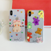 Kindy bear women case for iPhone 6s 8 7plus cute soft tpu cover 7 8plus clear silicone cartoon phone X XR Xs Max