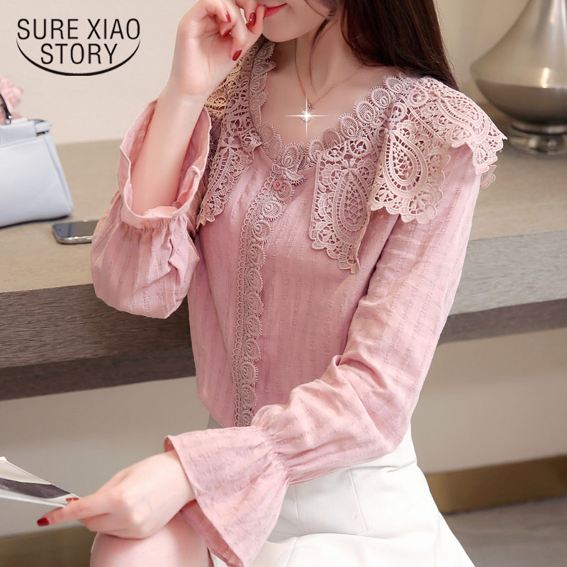 e0f6f57a55e96b Causal women blouses loose white blouse spliced long sleeve chiffon lace  womens shirts blouse fare sleeve