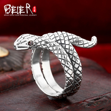 Beier 925 silver sterling jewelry 2015 fashion animal ring Zircon circling snake opening ring D1258
