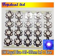 Лидер продаж, светодиодный чип ярко-синего цвета, 3 Вт, 445-455нм, 3 Вт, СВЕТОДИОДНЫЙ Излучатель со Звездной основой 20 мм, 100 шт./лот для световой тр...