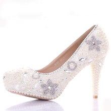 Великолепный кот свадебное платье обувь шику звезда кристалл банкетные ну вечеринку пром обувь женская 10 см высокий каблук горный хрусталь свадебная обувь