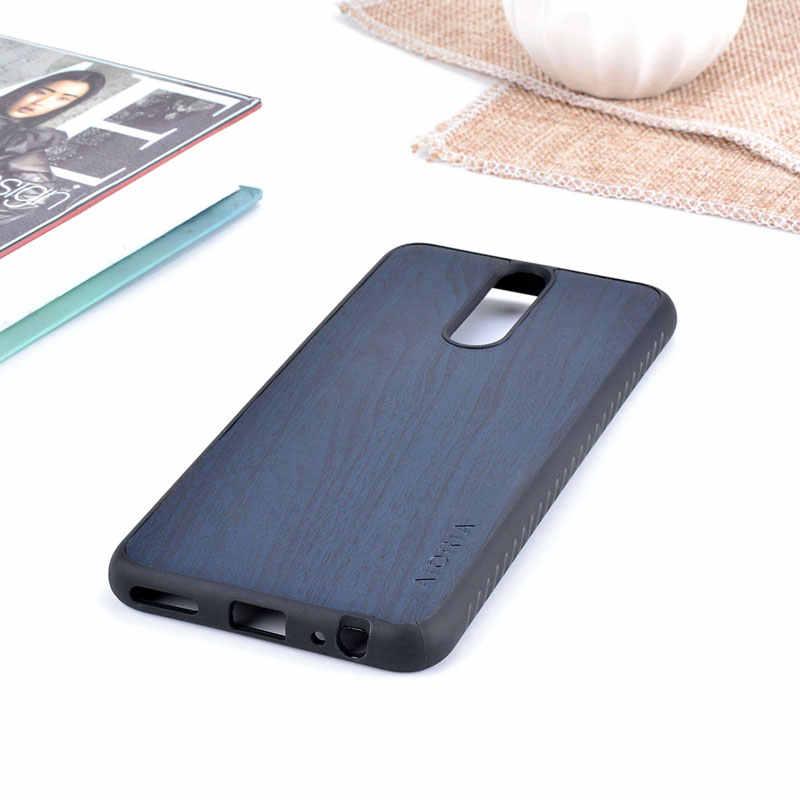 Funda Vintage AIORIA para Huawei Mate 10 Lite TPU suave con cubierta de piel de PU de madera funda resistente a golpes material