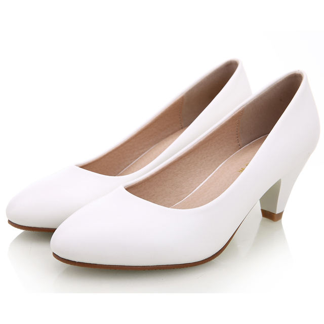Women's  Leather Med Heels New High Quality Shoes Classic Black&White Pumps Shoes for Office Ladies Shoes