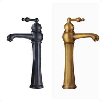 Copper faucet European style antique single-hole basin faucet bathroom  cold and hot mixed faucet